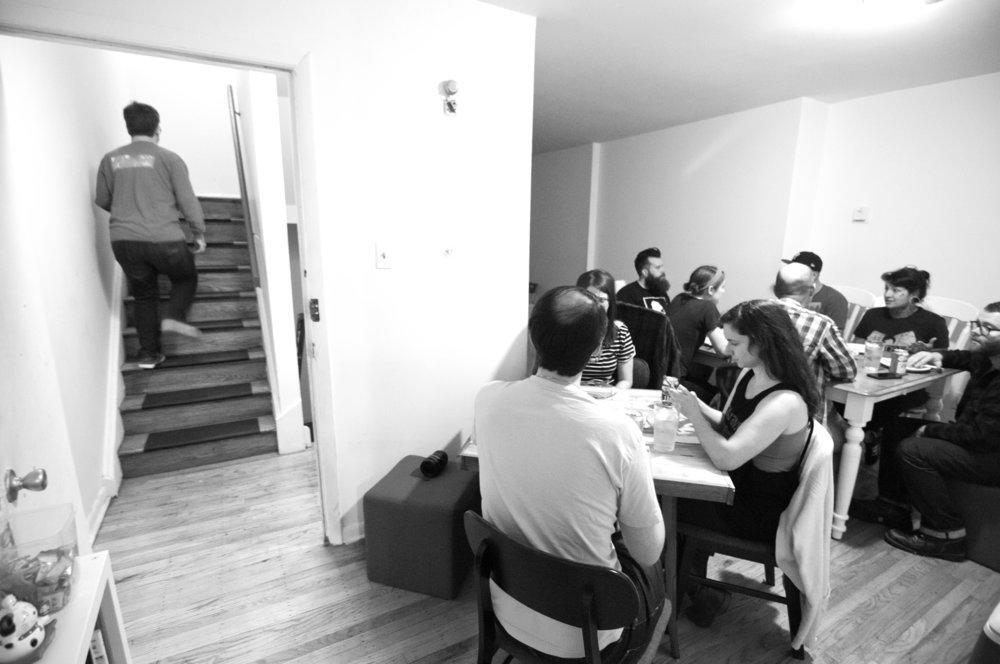 Scenes from ramen socials at the West Philly apartment (photo credit: Andy Hensler).