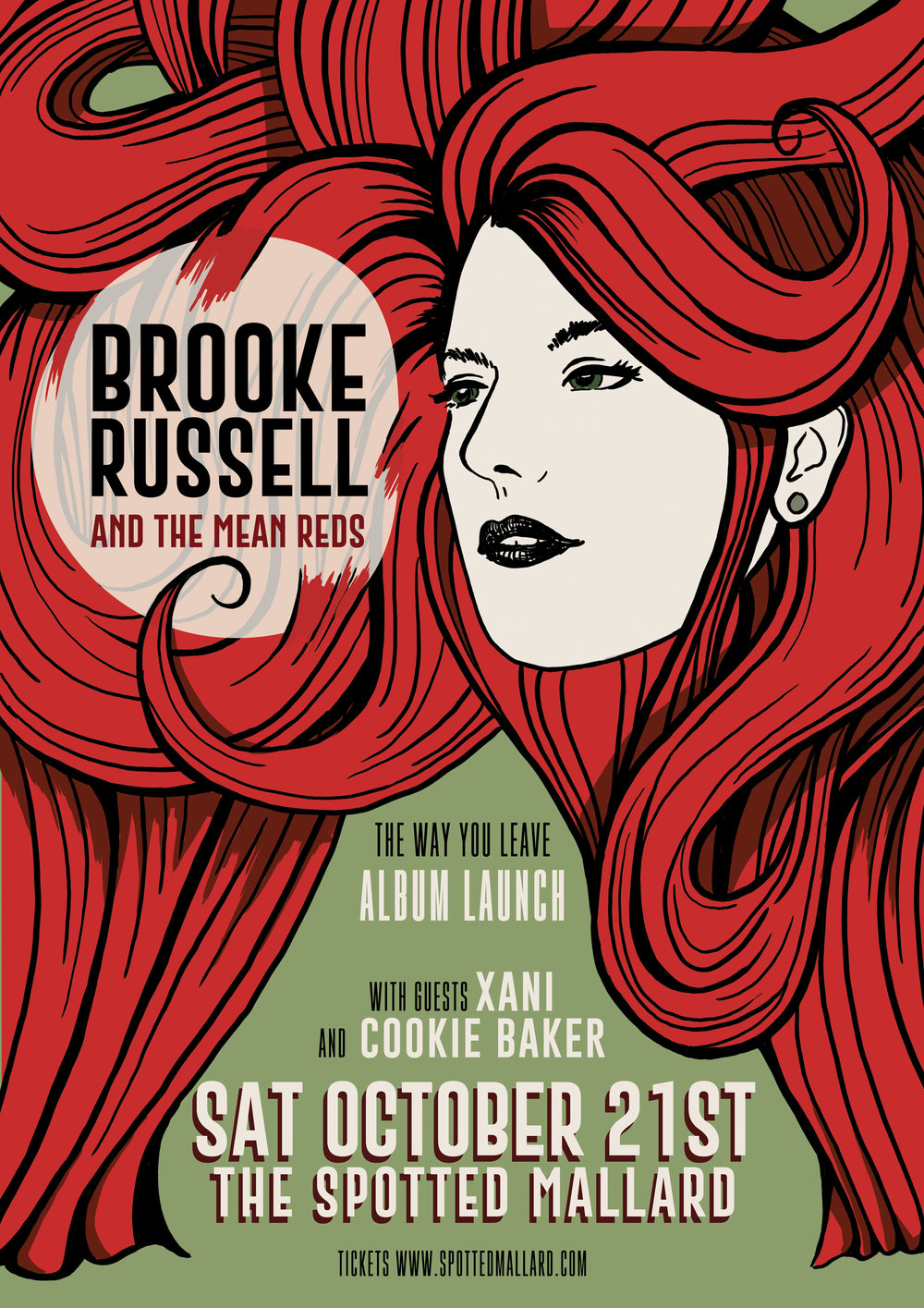 BROOKE RUSSELLAND THE MEAN REDS - ALBUM LAUNCHwith special guestsXani and Cookie BakerThe Spotted Mallard Sat 21st October 8pmCLICK HERE TO BUY TICKETSwww.spottedmallard.com