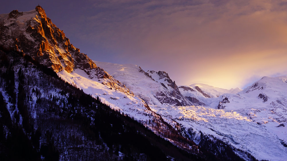 Aiguille du Midi at sunset.