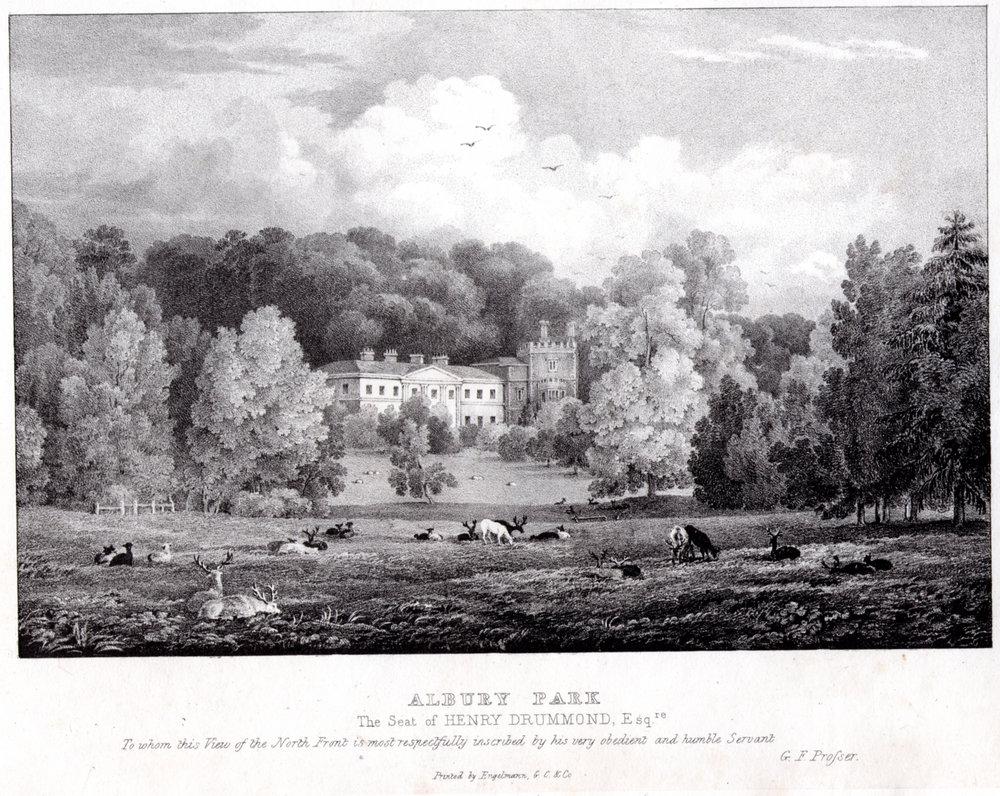 Albury Park, engraving by Prosser  circa  1830