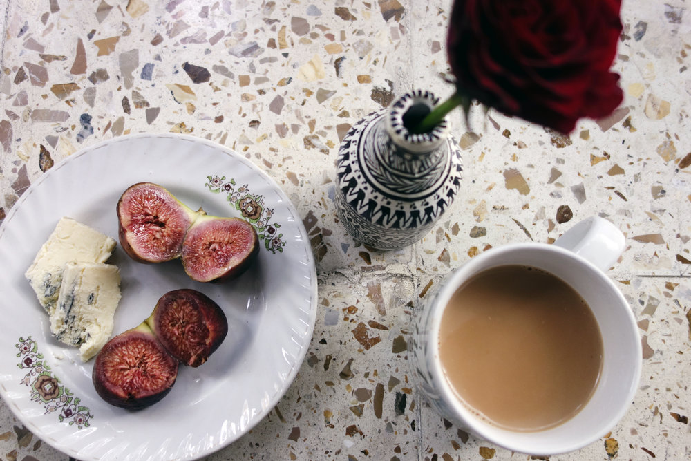 Pune,  Sheena . Tea with my grandmother must include snacks. Figs and blue cheese for this gluten-free girl.