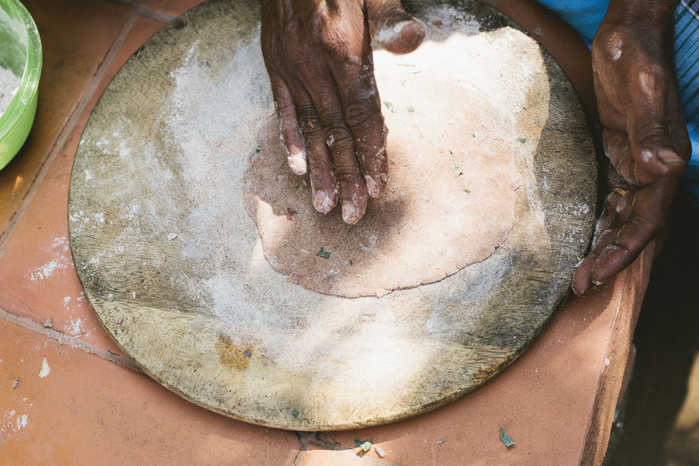 Making ragi roti at the Timbaktu Collective
