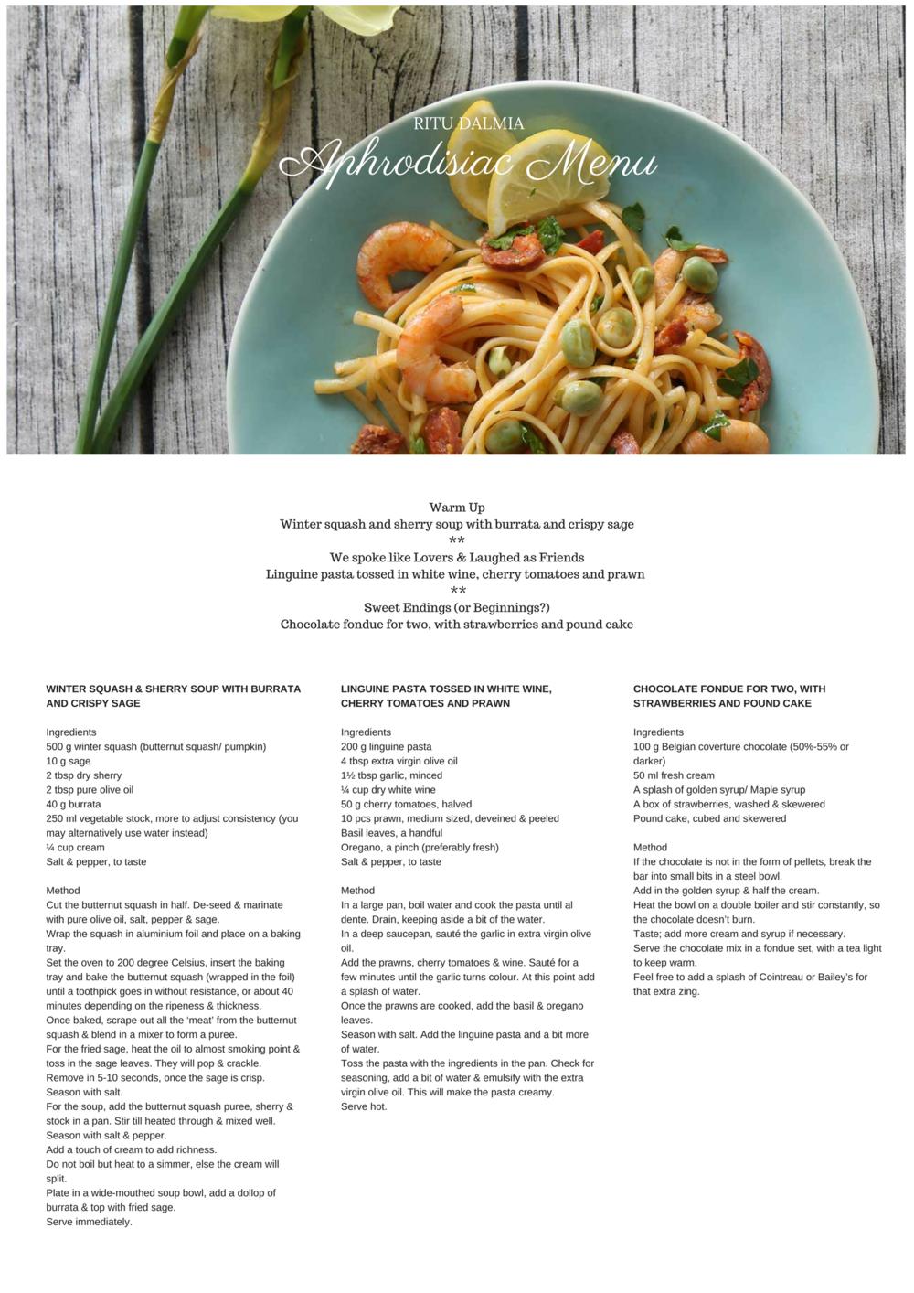Valentine's Day menu by Ritu Dalmia