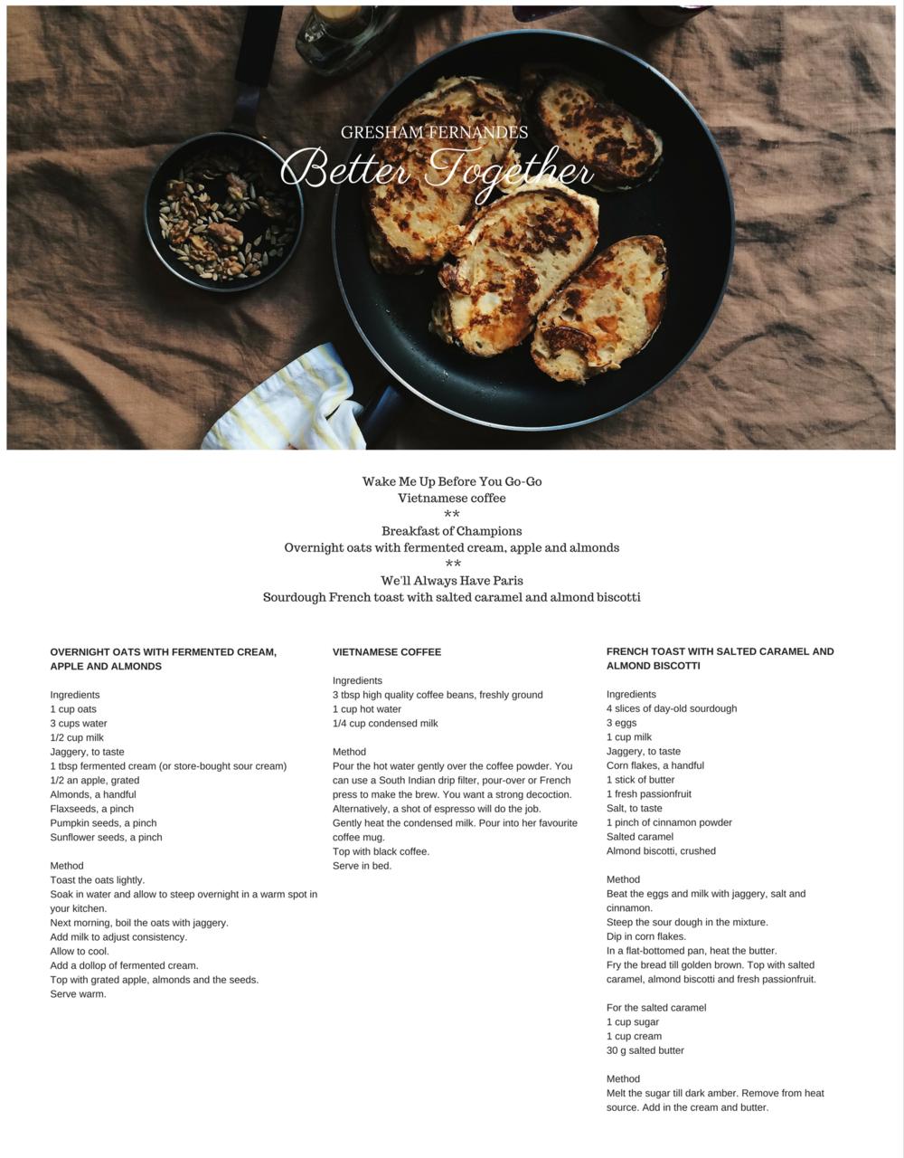 Valentine's Day menu by Gresham Fernandes