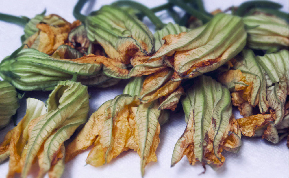 Pickings from a Bengali's edible flower garden. Pumpkin flowers are dipped in a rice powder or besan batter and then deep fried until crisp.