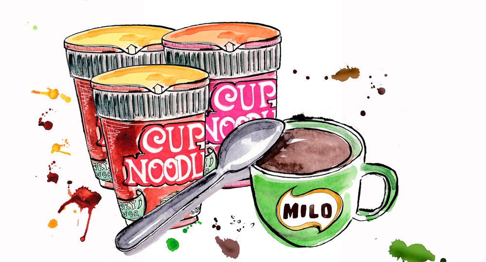 Food like Cup Noodles and Milo are childhood favourites