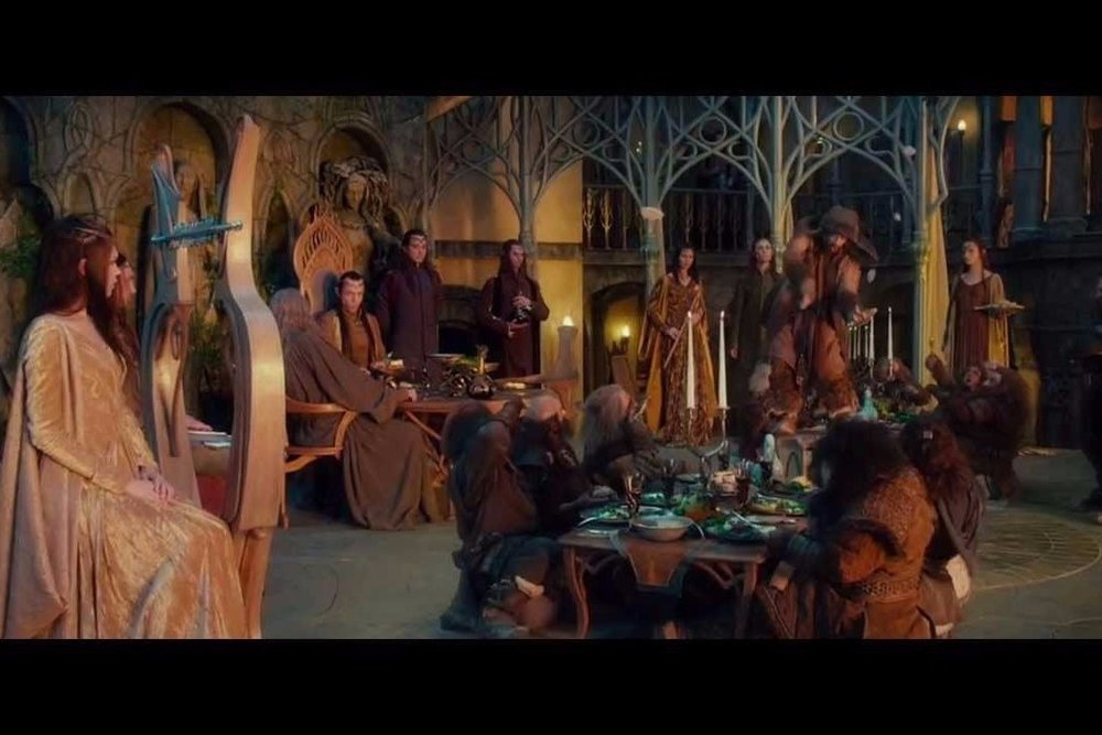 The Hobbits sit down to an Elvish feast in the fantasy series by JRR Tolkien.