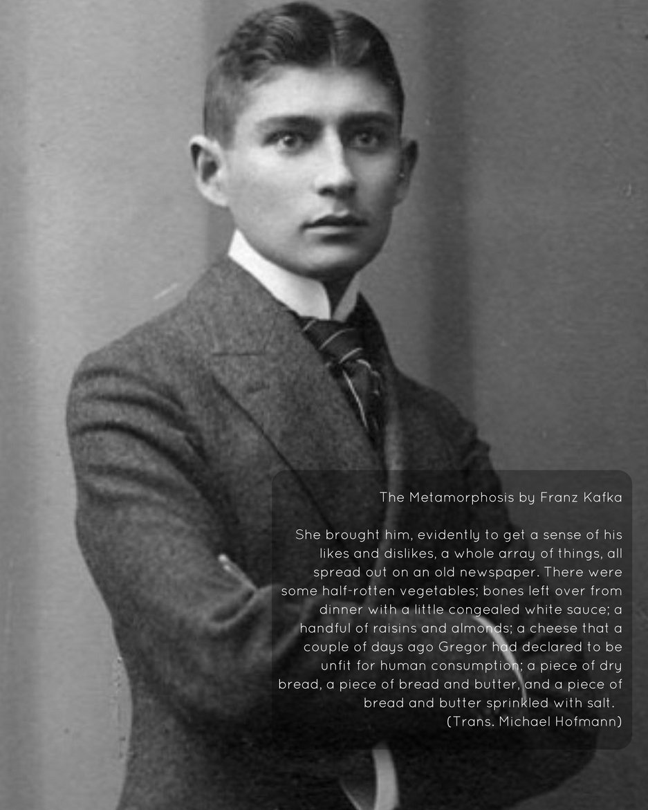 Example of food writing in Kafka's Metamorphosis