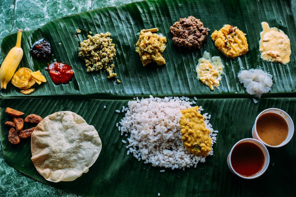 Onam sadya, banana leaf, Kerala