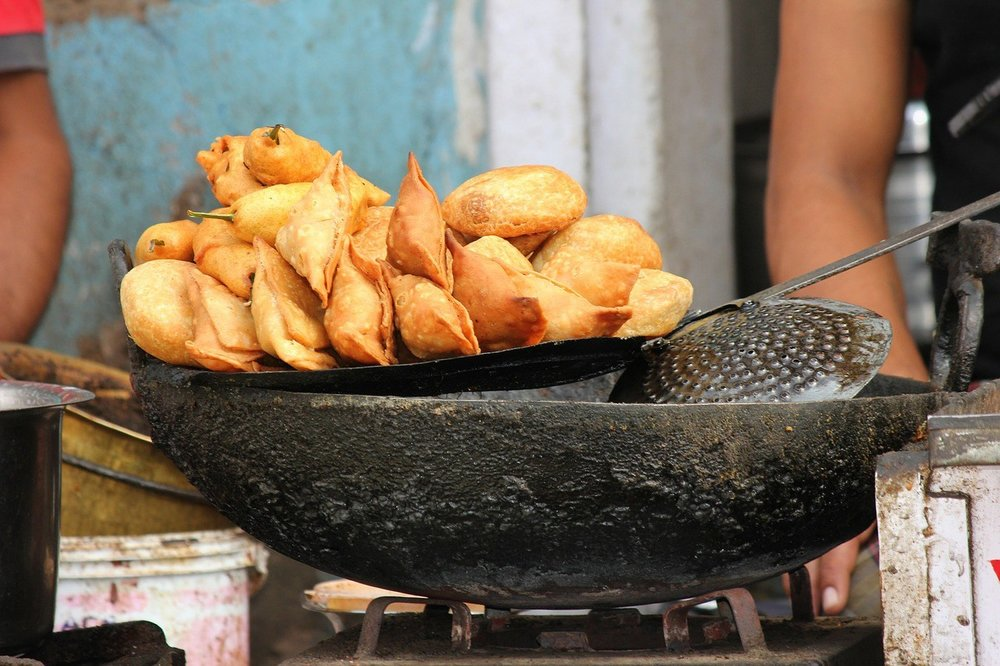 Beef samosas at St Xaviers in Goa