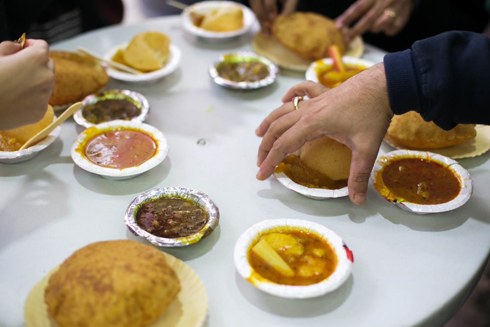 A traditionally sweet and savoury breakfast is the rich nagori halwa and crisp bedmi-aloo, a hot, crumbly semolina-poori served with potato curry.