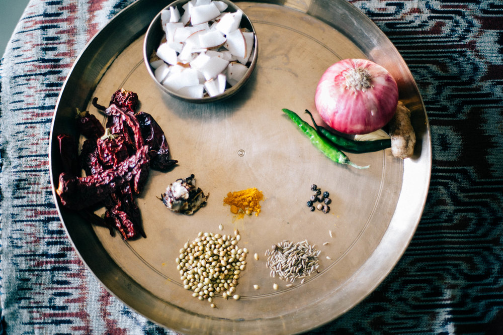 Ingredients prepped for Mangalore fish curry |Onion, dried red chilli, coconut, green chilli |  #1000Kitchens