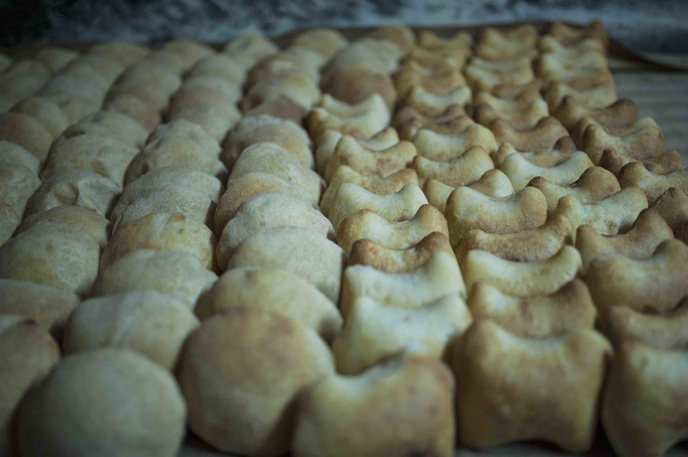 Warm poie and katriche pao, fresh out of the oven are lined up for sale.  Shot in Anton Bakery, Colvale. 2017