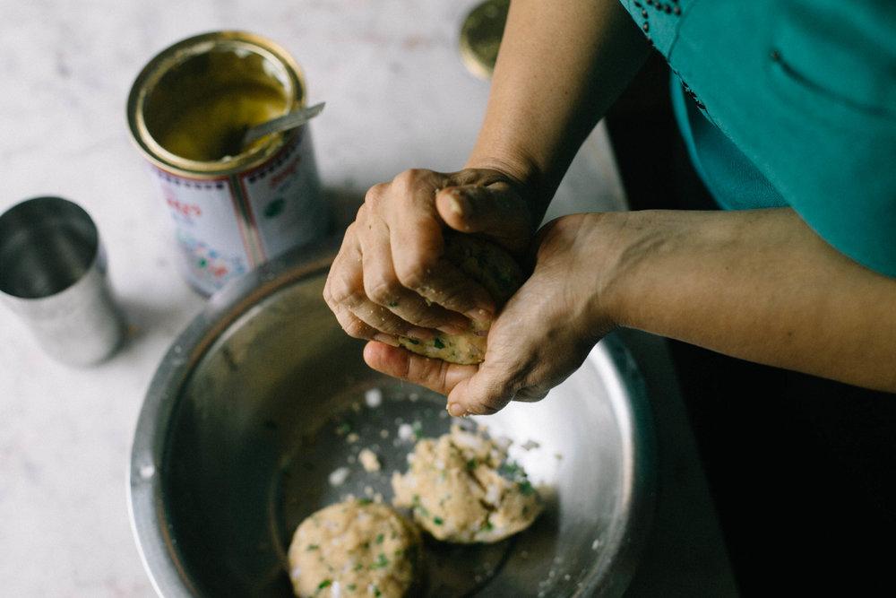 Hena Gulabani makes the dough for Sindhi koki