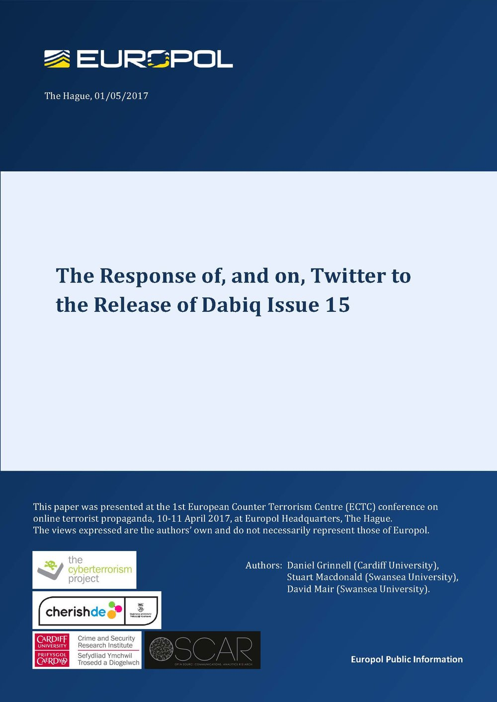 The Response of, and on, Twitter to the Release of Dabiq Issue 15 -
