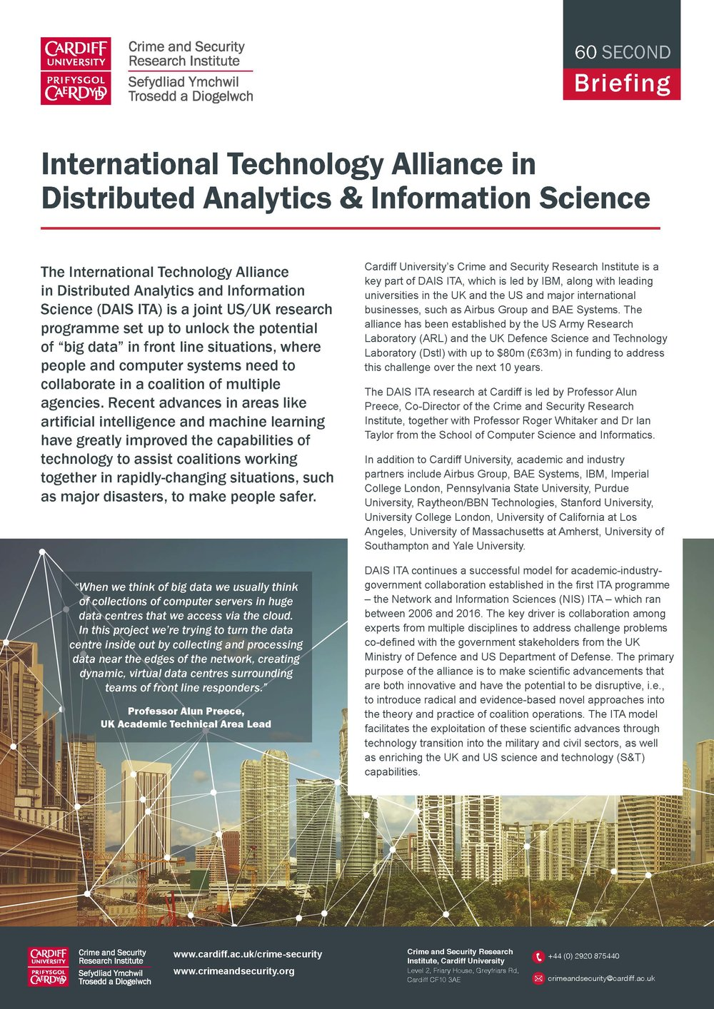 International Technology Alliance in Distributed Analytics & Information Science [ITA DAIS] -