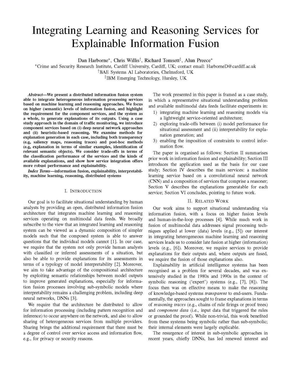 Integrating Learning and Reasoning Services forExplainable Information Fusion -