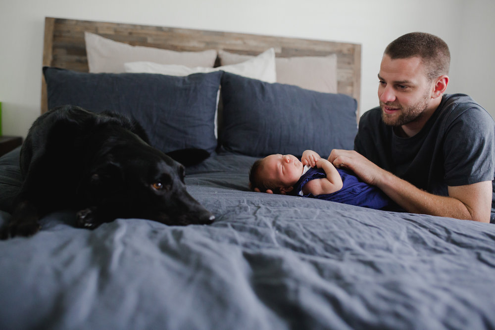baby, dad and dog