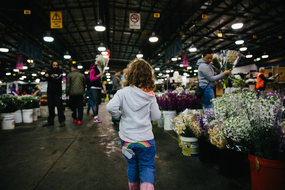 Early start | child at flower markets
