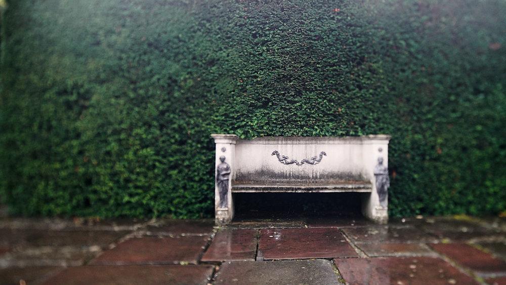 Great-Fosters wedding videographer garden bench