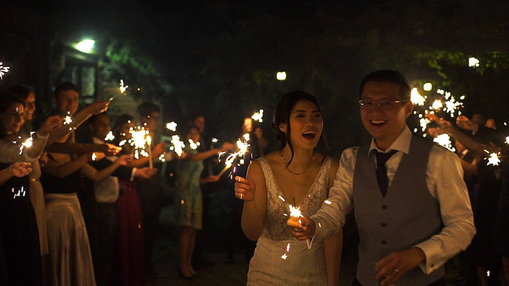 Great Fosters wedding videographer sparklers