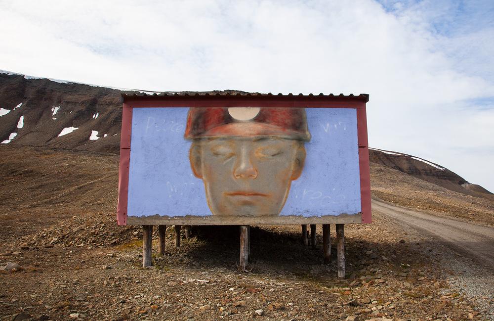 Miner Hoarding, Longyearbyen, Norwegian mining town, Svalbard
