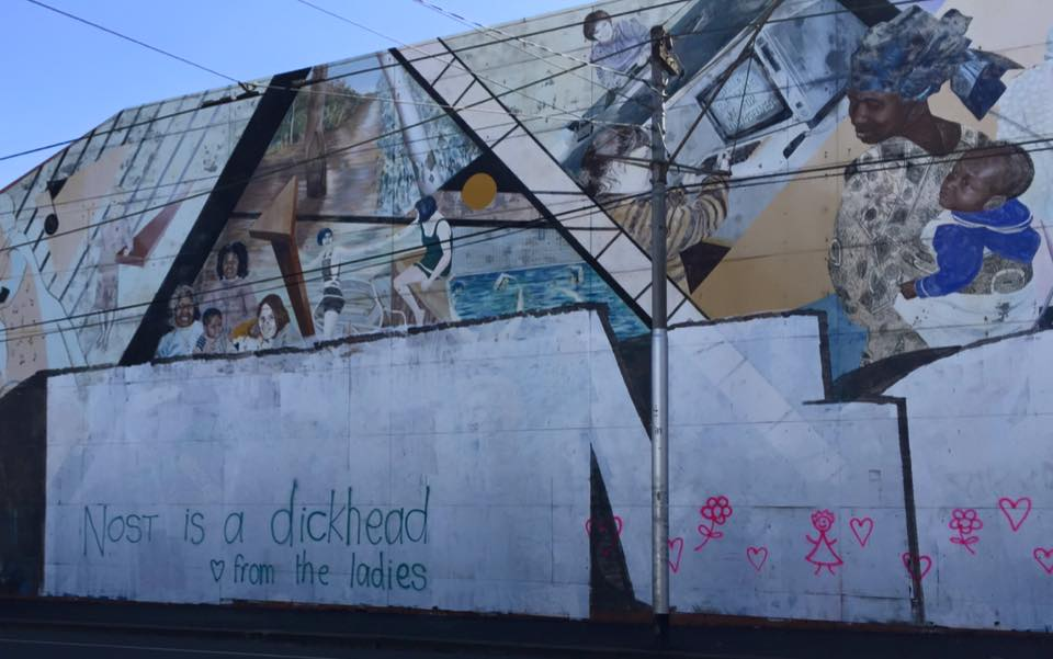 Feminist graffiti in response to vandalised mural Photo: Colin Mowbray