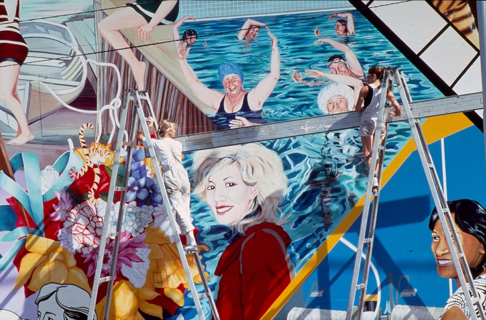 Eve Glenn and Megan Evans at work on  The Women's Mural: Bomboniere to Barbed Wire , 1986, Gas & Fuel Office, Smith Street, Fitzroy, Melbourne, Courtesy of Megan Evans archive.