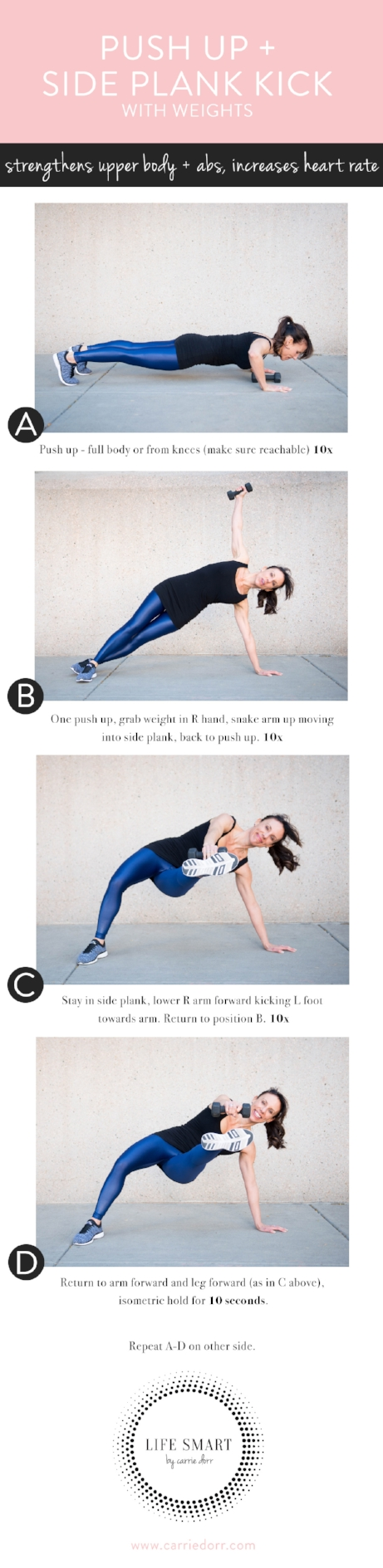 Push Up + Side Plank Kick- LIFE SMART by Carrie Dorr