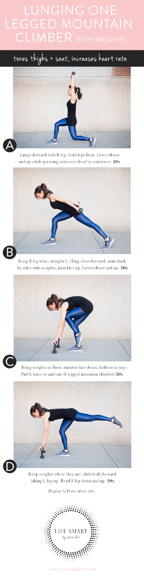 Lunge with One Legged Mountain Climber (with weights)- LIFE SMART by Carrie Dorr