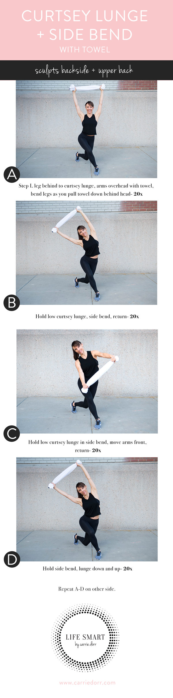 Curtsey lunge + side bend- LIFE SMART by Carrie Dorr