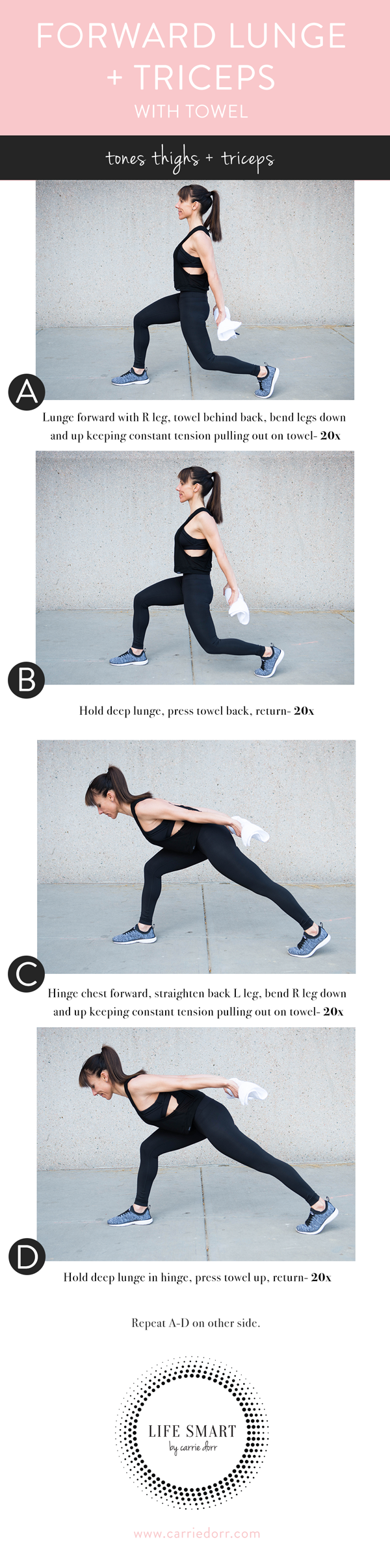 Forward lunge + tricepts with towel- LIFE SMART by Carrie Dorr