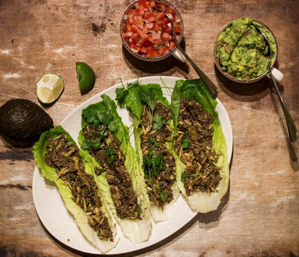 Happy Vegan Tacos de cantarellas