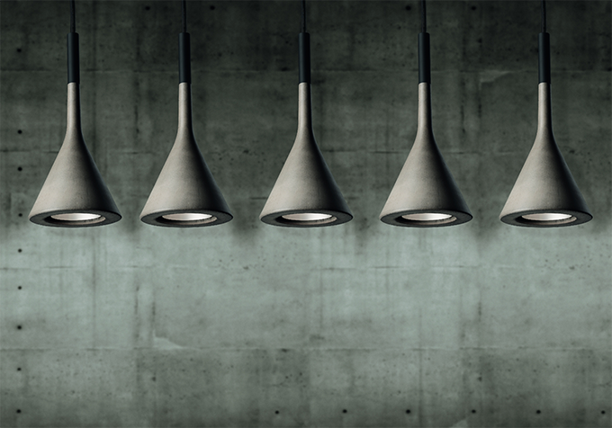 These Aplomb lights from Abitalia are constructed from concrete and are perfect for providing an industrial feel to a kitchen or other area requiring direct light.