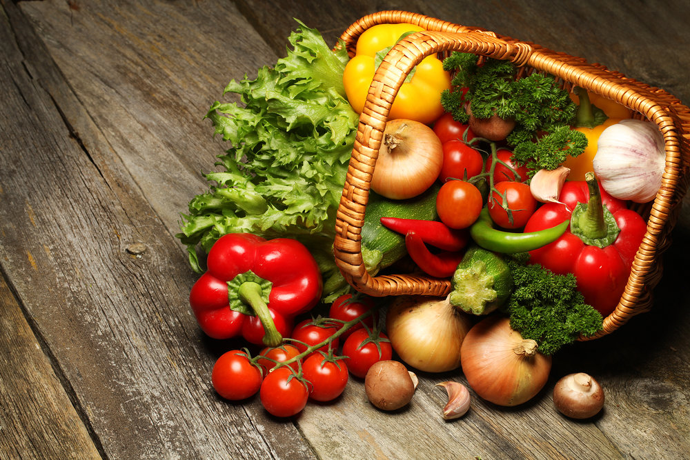 Basket full of healthy fruits and vegetables