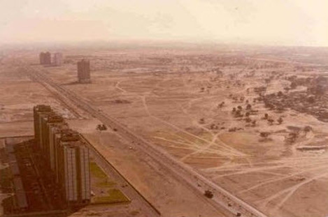 Dubai's skyline in 1990