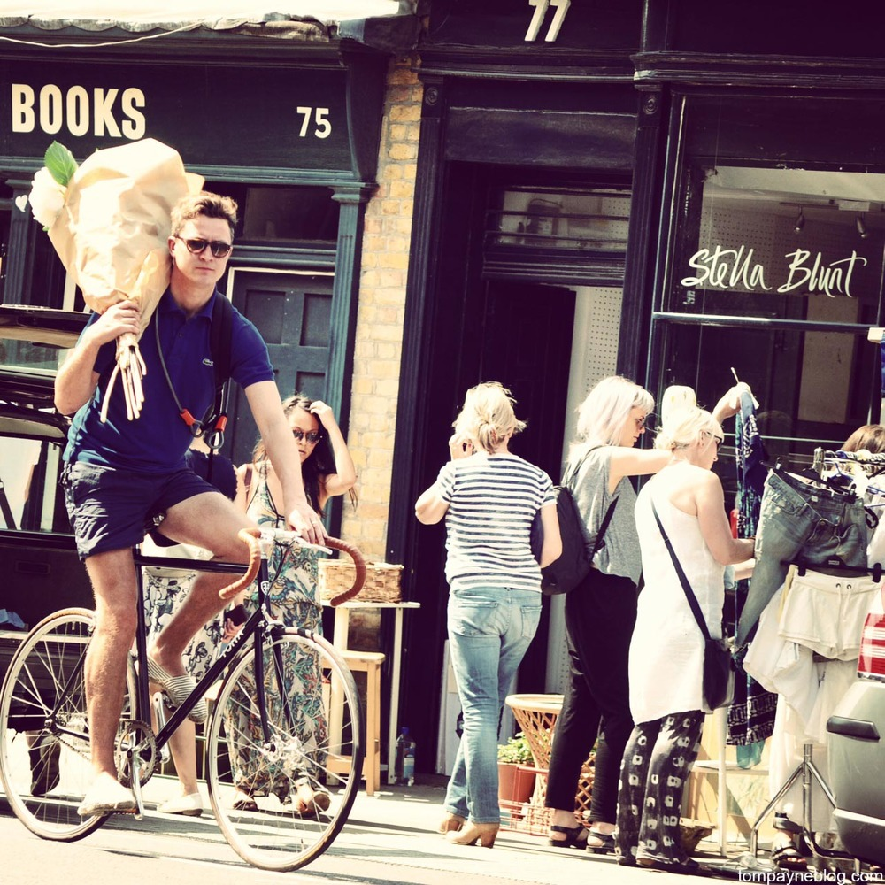 Sunday morning shopping in the London borough of Hackney.