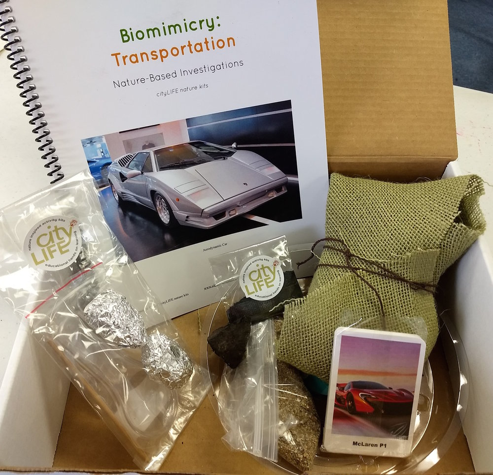 Biomimicry: Transportation includes: ~informational lesson and activities ~playing cards ~owl pellets, bamboo stick, hand lens ~magnetic rock and fillings ~clear pan to work on ~natural materials collected in Maine