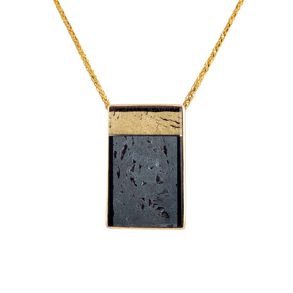 项链 陨铁,水晶,贝母,18K黄金