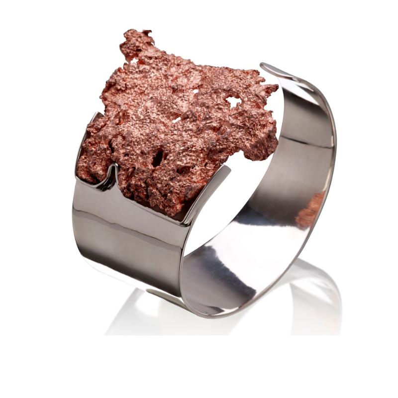 美国密歇根自然铜镀18K玫瑰金手镯,925银镀18K白金镶嵌
