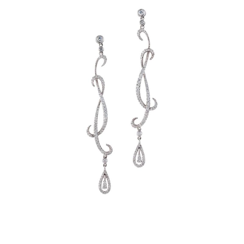 圆明亮型切割钻石与梨形钻石耳坠,18K白金镶嵌