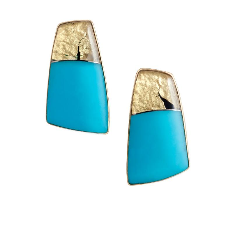 耳坠 来自美国亚利桑那州的睡美人松石,白水晶,22K黄金,贝母,18K黄金