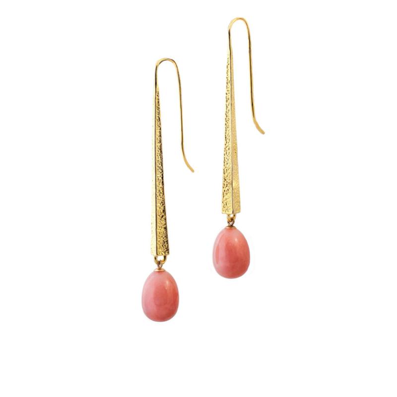 梨形粉色蛋白石(秘鲁,23.3克拉)18k金耳坠