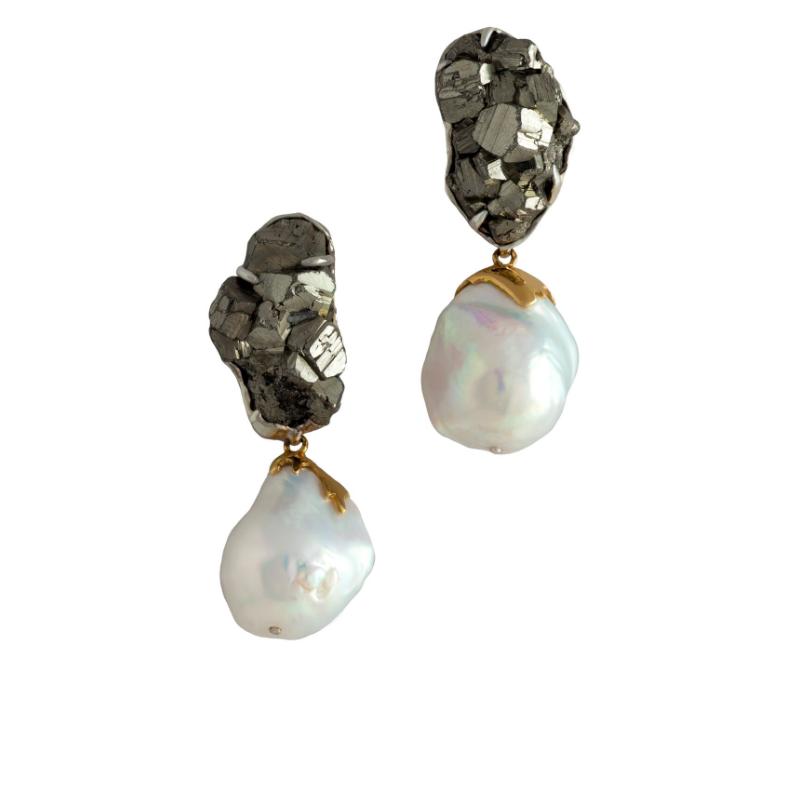 黄铁矿,巴洛克珍珠附18k黄金,925银镀18k白金耳环