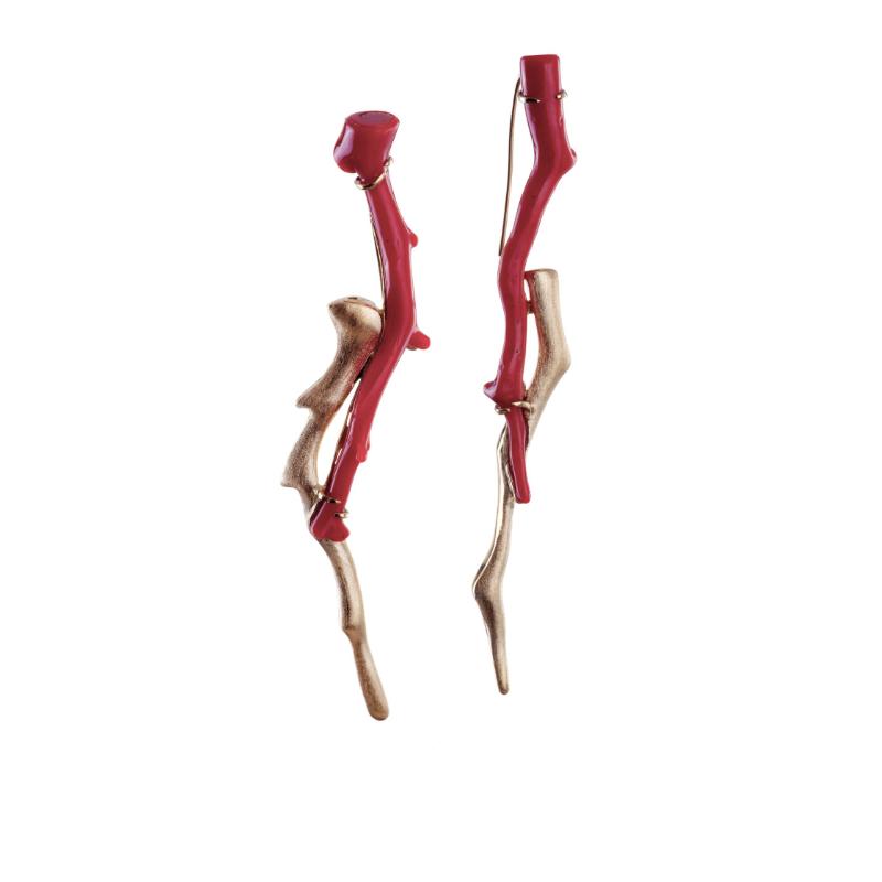 意大利古董红珊瑚,18K黄金镶嵌耳坠