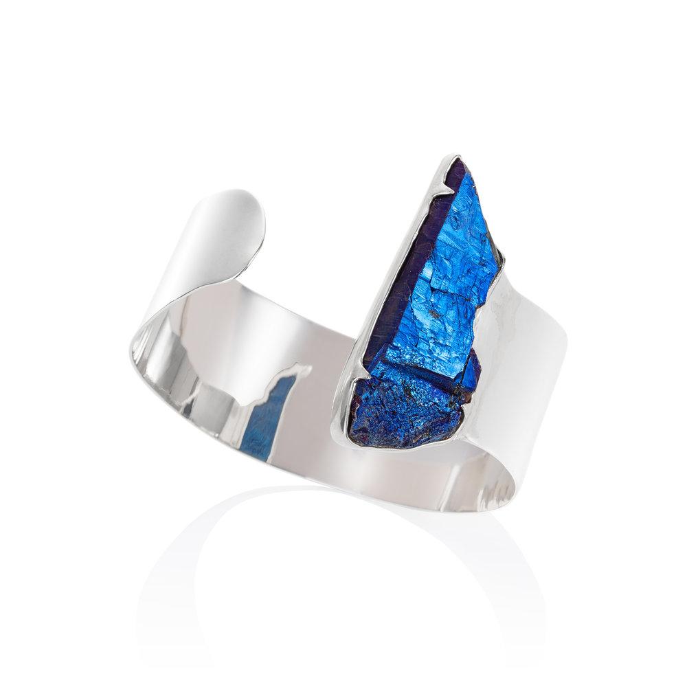 水晶镀钛925银手镯