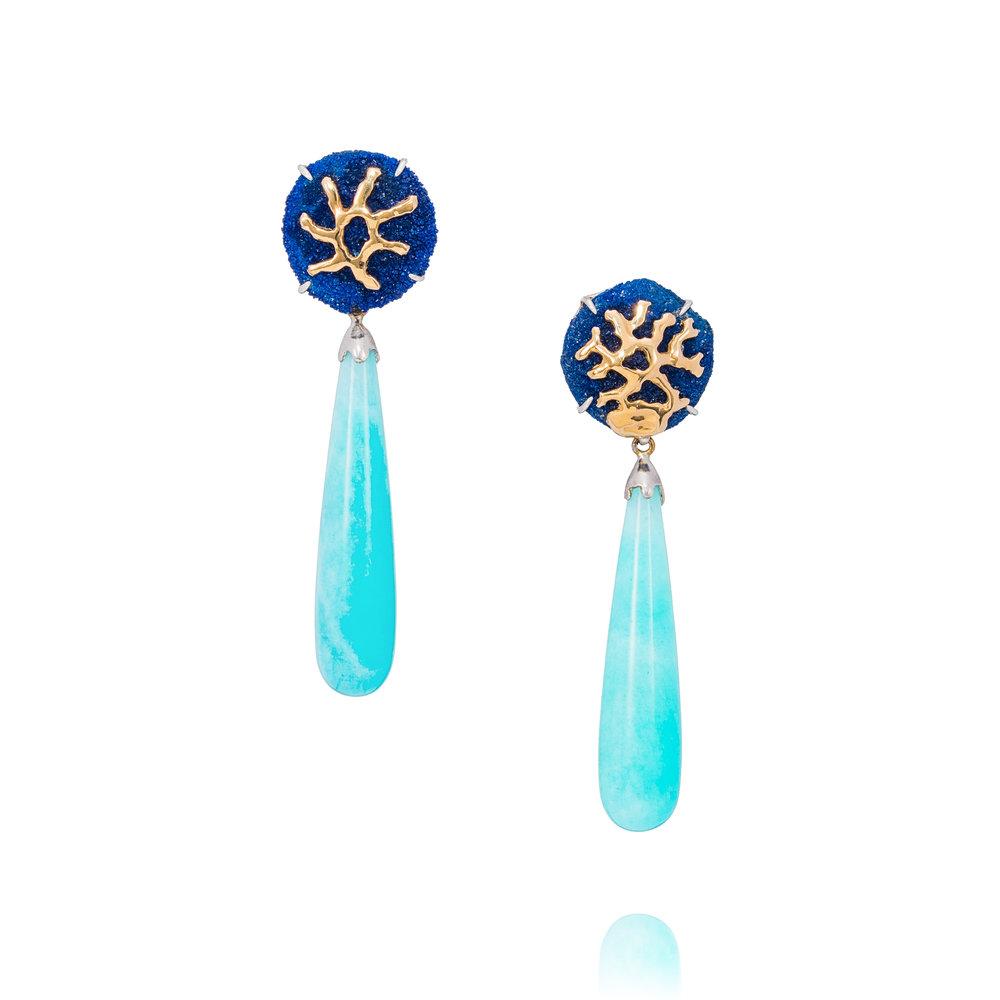 水滴形天河石,18K黄金镶嵌蓝铜玫瑰耳环
