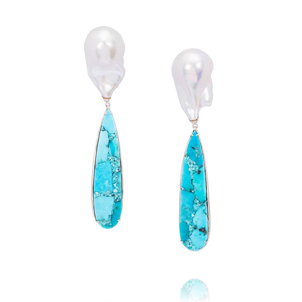 人鱼公主  绿松石,巴洛克珍珠,925银镶嵌耳环