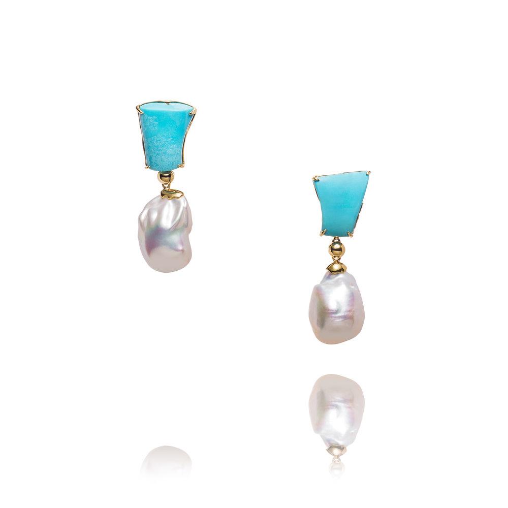 睡美人绿松石,巴洛克珍珠,18k黄金耳坠
