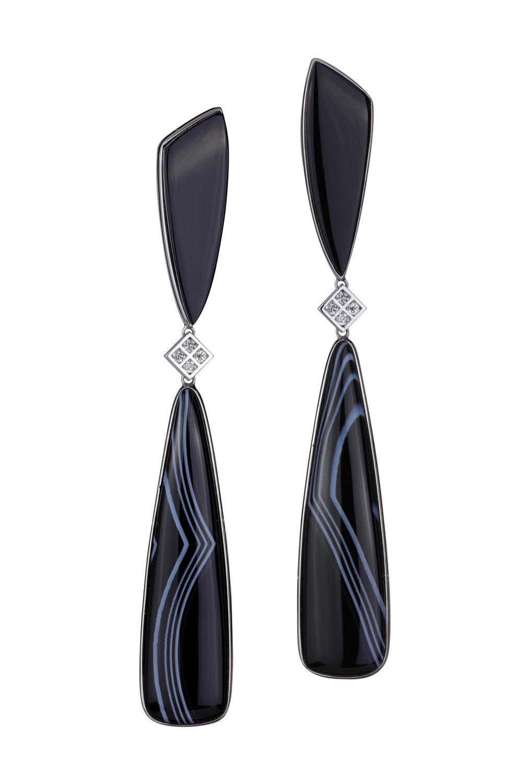 美国缟玛瑙以及黑玛瑙,18K白金镶嵌钻石耳坠